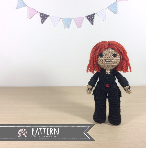 Black Widow Amigurumi Crochet Doll Pattern