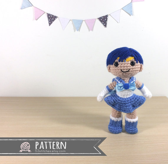 Sailor Mercury Amigurumi Crochet Doll Pattern