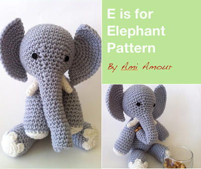 E is for Elephant Pattern Amigurumi Crochet PDF