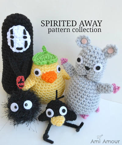 Spirited Away crochet pattern set Mouse Soot Sprite No Face Duck Spirit