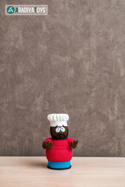 "Crochet Pattern of Chef from ""South Park"" (Amigurumi tutorial PDF file)"