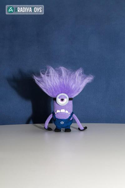 Crochet Pattern of purple monster with one eye