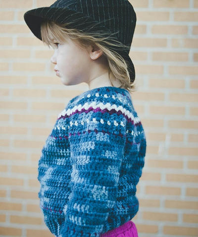 Fair Isle Cardigan Crochet Pattern No. 9