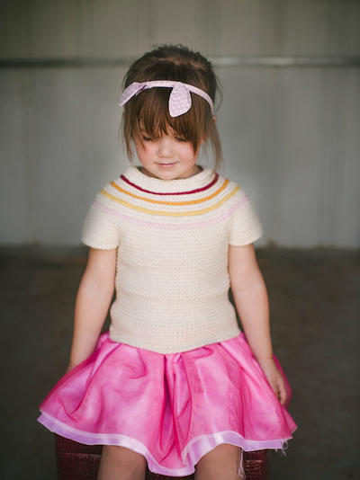 Reversible Girls Crochet Sweater Pattern No. 15