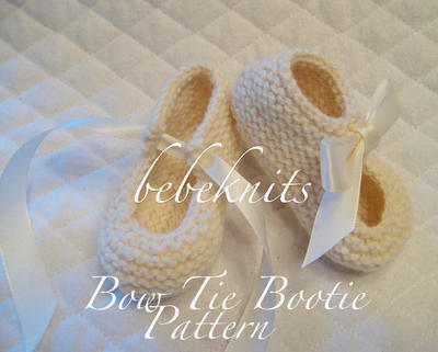 Bow Tie Bootie Knitting Pattern