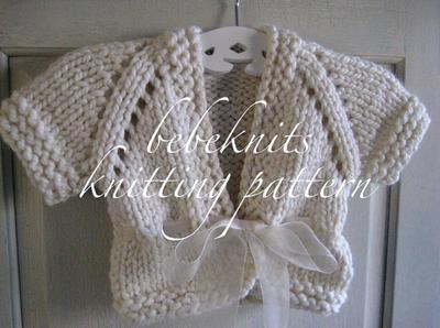 Bulky Ribbon Tied Baby Cardigan Knitting Pattern