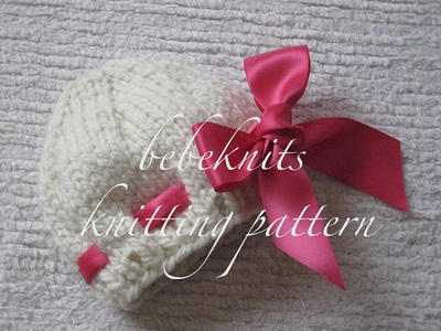 Eyelet Baby Pink Hat Knitting Pattern