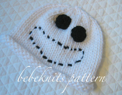 Little Boo Ghost Baby Hat Knitting Pattern in 4 Sizes