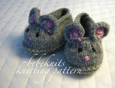 Little Mice Baby Slippers Knitting Pattern