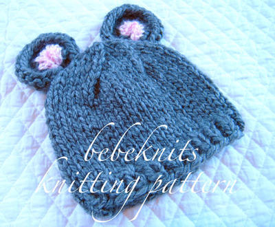 Little Mouse Baby Hat Knitting Pattern