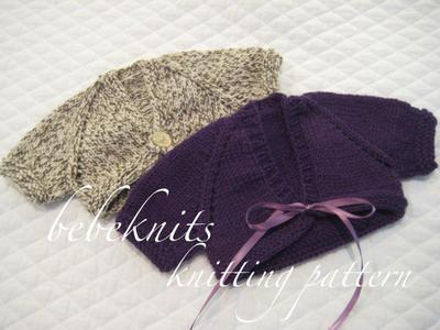 Sweet Preemie Front Tie Baby Cardigan Knitting Pattern