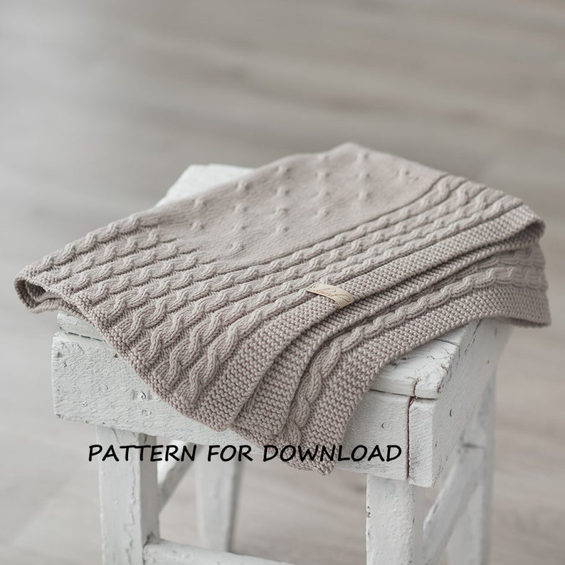 Cable Knit Baby Blanket PDF Pattern