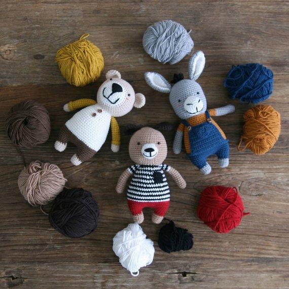crochet pattern-3in1/Donkey+Bear+Dog