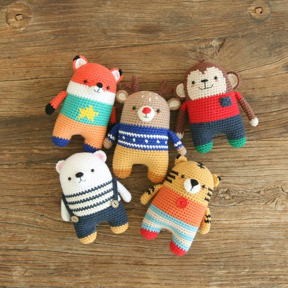 Crochet pattern-5in1/fox/monkey/tiger/polarbear/deer