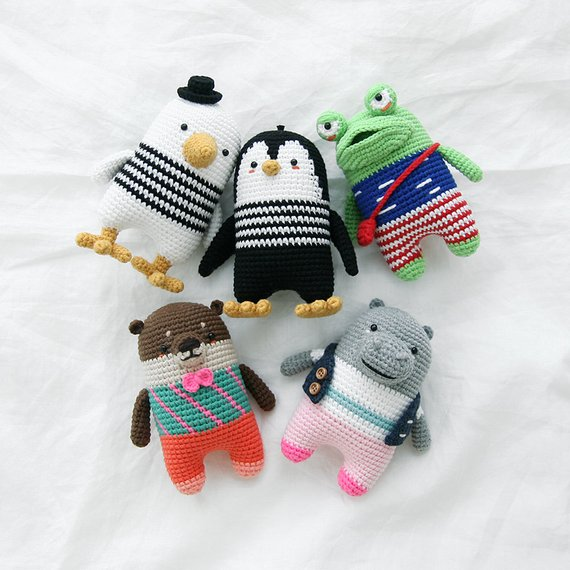 crochet pattern-5in1/frog/penguin/seagull/otter/hippo