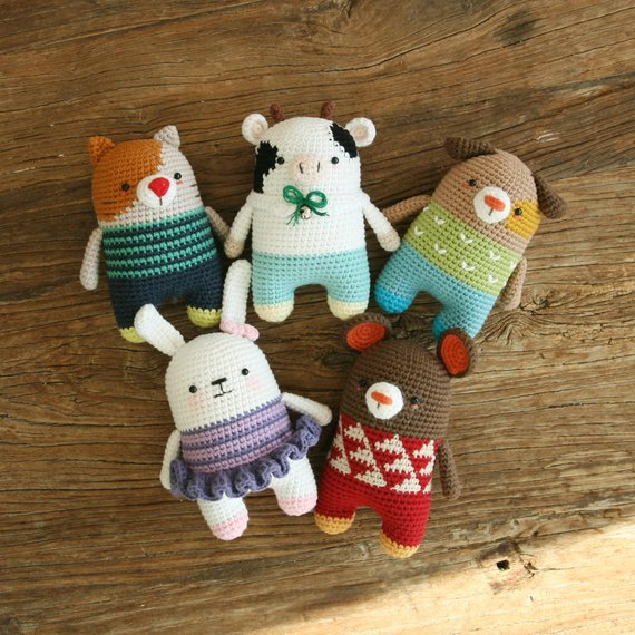 Crochet pattern-5in1/mouse/cat/dog/rabbit/milkcow