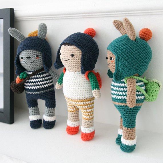 Crochet pattern-Bunny twins and Jack