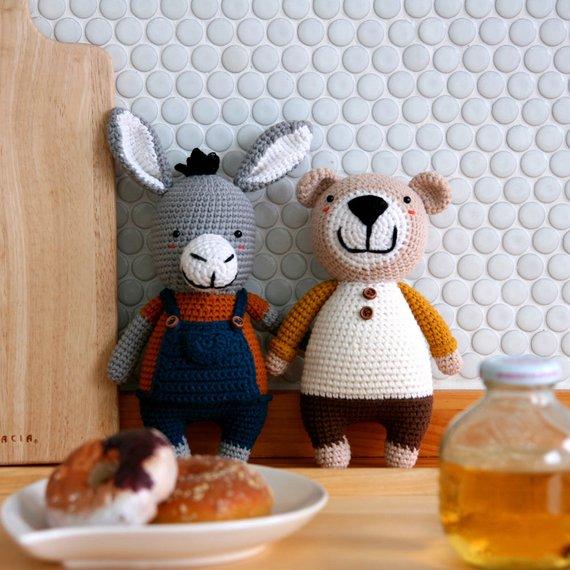 Crochet pattern-Donkey+Bear