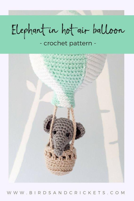 Elephant in hot air balloon crochet pattern