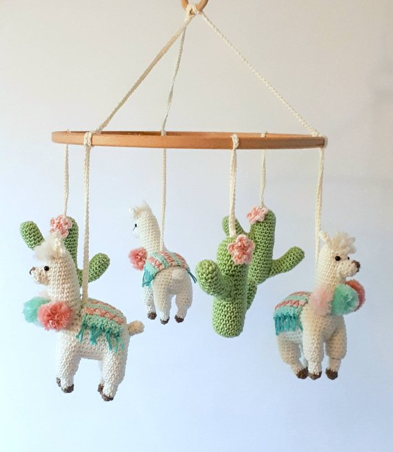 Llama baby mobile crochet pattern