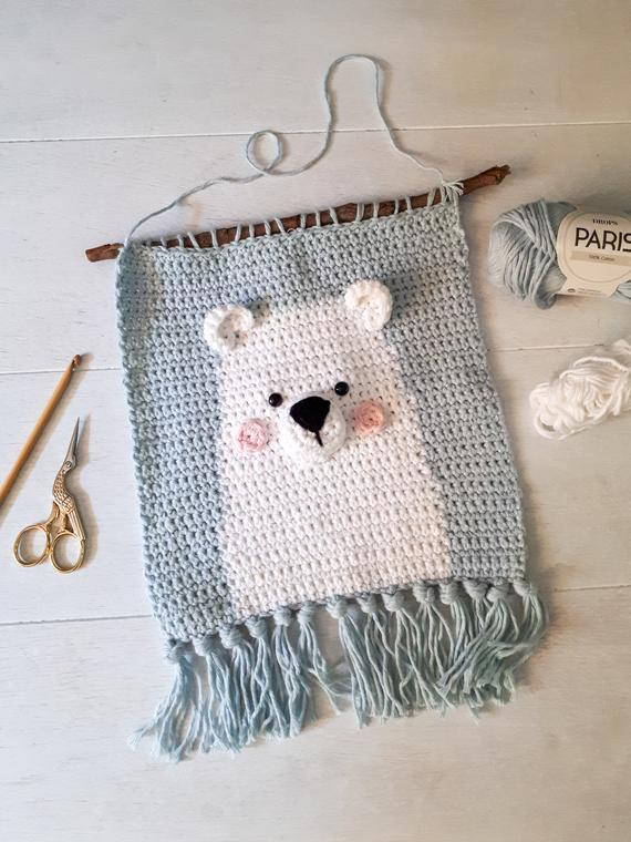Polar bear nursery wall decor crochet pattern