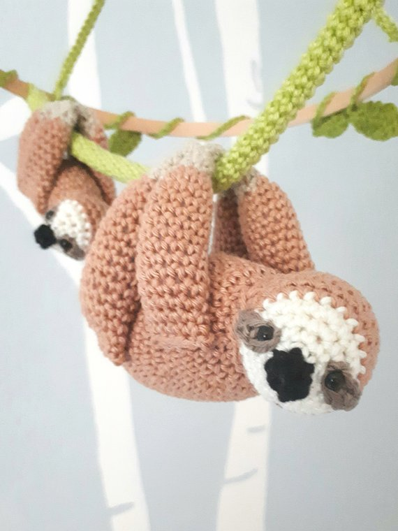 Sloth baby mobile crochet pattern