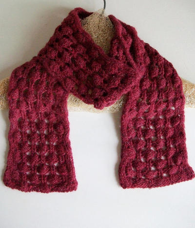 Easy Knit Bobble Lace Scarf Pattern