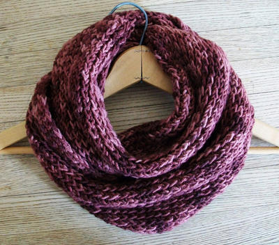 Ribbed Looped Scarf  Knitting Pattern