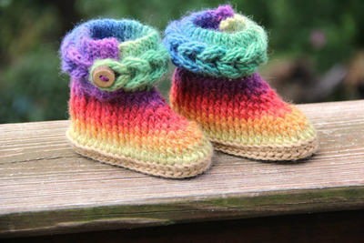 Braid Stitch Booties (Baby Sizes)