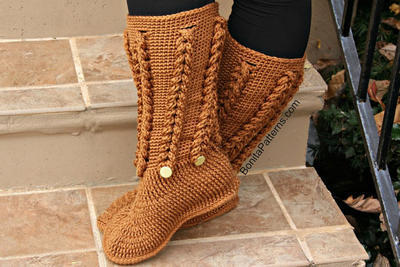 Knit-Look Braid Stitch Long Boots (Adult Sizes)