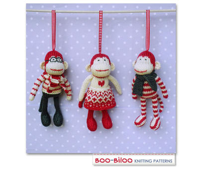 Mini Monkeys Knitting Pattern, ornament / toy