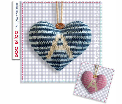 Personalised Hanging Heart decoration knitting pattern