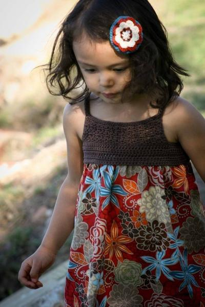 Crochet and Fabric Summer Dress Tutorial - SEVEN Sizes 1 to 7 Yrs
