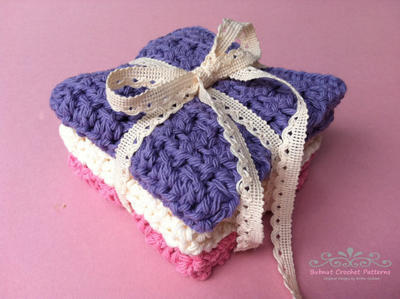 Crochet Dish Cloth Patterns THREE Instant Digital Downloads