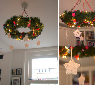 Hanging Christmas wreath with lights