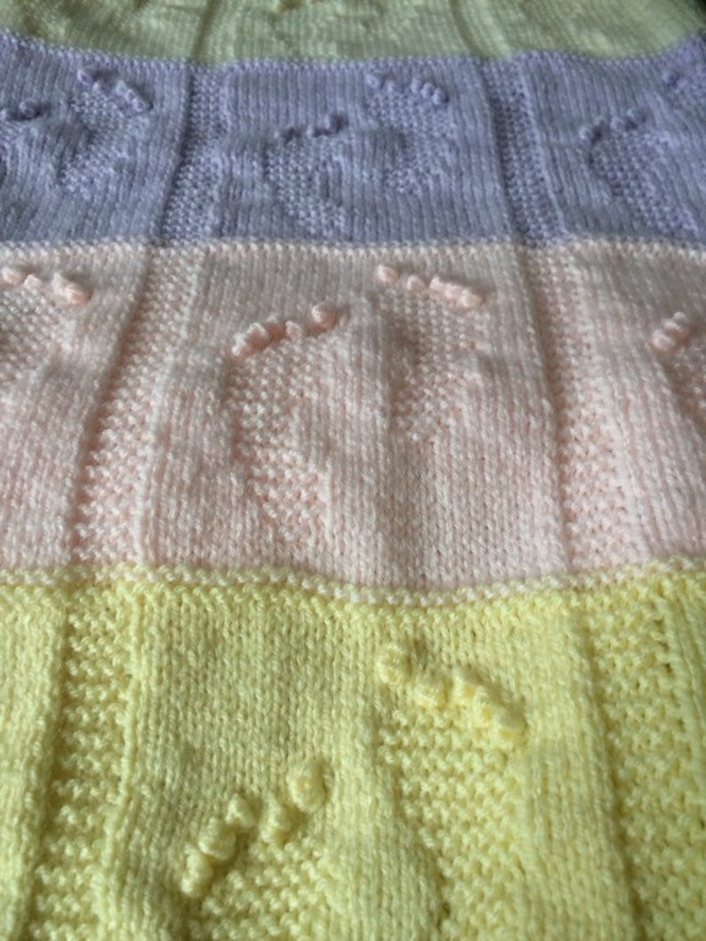 Baby Footprints Blanket Knitting Pattern