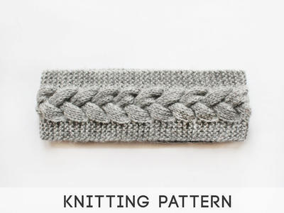 Grey Braid Cable Knit Headband