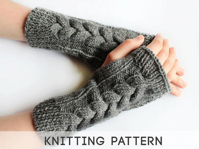 Long Cable Knit Fingerless Mittens Pattern