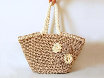 Beach Bag with Flowers