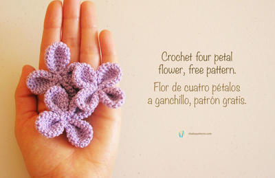 Crochet four petal flower