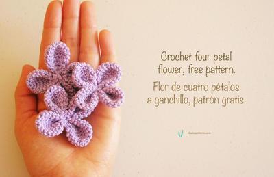 Crochet four petal flower