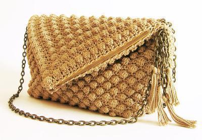 Crochet pattern for bobble stitch bag