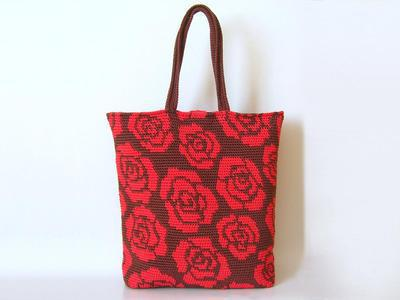 Crochet pattern for roses tote