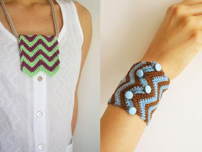 Zig-zag necklace and bracelet