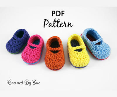 Sweet Baby Mary Janes Slippers / Booties Crochet Pattern (Newborn - 12 Months)