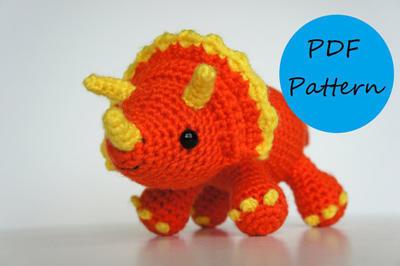 PDF Crochet Amigurumi Pattern - Triceratops Dinosaur