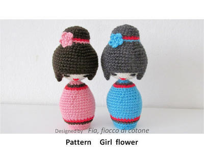 Pattern Girl flower ,kokeshi doll amigurumi crochet