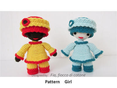 Pattern Girl , miniature doll amigurumi crochet, princess doll