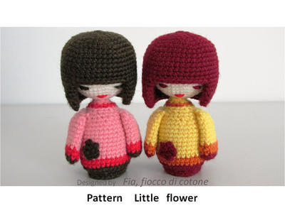 Pattern Little Flower ,kokeshi doll amigurumi crochet