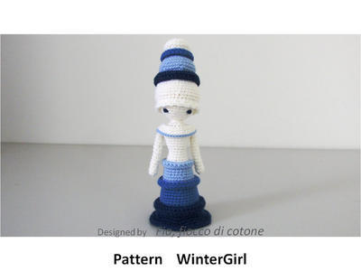 Pattern WinterGirl , miniature doll amigurumi crochet, princess doll